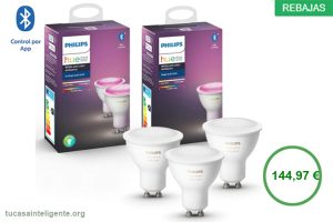 Philips Hue Pack de 2 Bombillas Inteligentes LED GU10